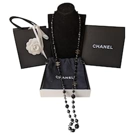 Chanel-CC A11V long black and greay pearl necklace dustbag box-Black