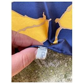 Christian Dior-Sublime Dior art deco floral scarf-Blue,Yellow