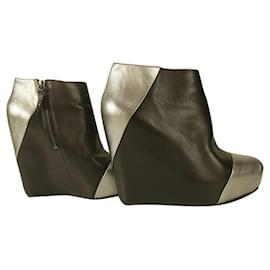 Pierre Balmain-Pierre Balmain Black Leather & Silver Wedge platform Ankle Boot Booties Shoes 40-Black,Silver hardware