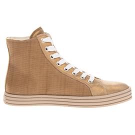 Hogan-HOGAN REBEL Sneakers Size 35.5 / UK 3.5 US 5.5 Contrast Leather Shimmer-Beige