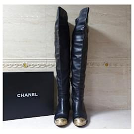 Chanel-Chanel Black Leather Paris Dallas Metal Cap Toe Thigh High Boots-Black