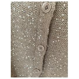 CAROLL-Sequined cardigan-Beige