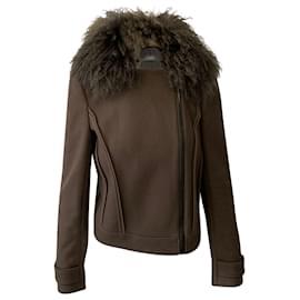 Joseph-Joseph Khaki Jacket with Fur Collar-Brown