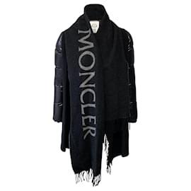 Moncler-Moncler Mantella Cape with Nylon Down Sleeves-Black