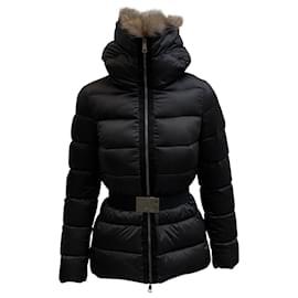 Moncler-Moncler Fur Hoodie  Belted Down Jacket-Black