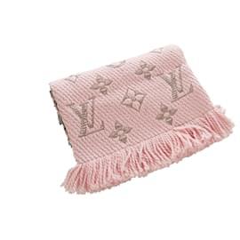 Louis Vuitton-Louis Vuitton Pink Logomania Wool Scarf-Silvery,Pink