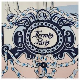 Hermès-Hermes White Real Escuela Andaluza Del Arte Ecuestre Printed Scarf-White,Multiple colors