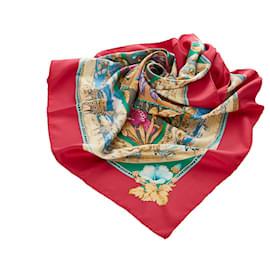 Hermès-Hermes Red Tropiques Silk Scarf-Red