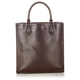 Louis Vuitton-Louis Vuitton Brown Epi Sac Plat PM-Brown,Dark brown