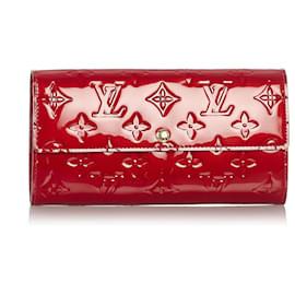 Louis Vuitton-Louis Vuitton Red Vernis Sarah Wallet-Red