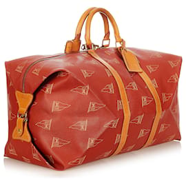 Louis Vuitton-Louis Vuitton Red 1995 LV Cup Travel Bag-Brown,Red