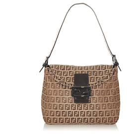 Fendi-Fendi Brown Zucchino Canvas Shoulder Bag-Brown