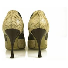 Dolce & Gabbana-Dolce & Gabbana Dark Brown Leather Snakeskin Pumps Round Toe Heel sz 37,5 shoes-Brown,Beige