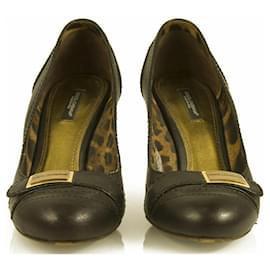 Dolce & Gabbana-Dolce & Gabbana Dark Brown Leather Pumps Round Toe Wooden Heel sz 37,5 shoes-Brown