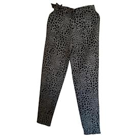 Georges Rech-Pants, leggings-Grey,Leopard print