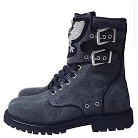 Balmain-NWOB Balmain Gray Textile Combat Boots-Grey