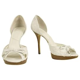 Christian Dior-Christian Dior White Woven Leather Peep Toe Pumps Platform Shoes sz 39-White