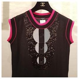Chanel-$2.7K CHANEL BLACK/PINK CASHMERE SEQUIN CHIC DRESS Sz.40-Multiple colors