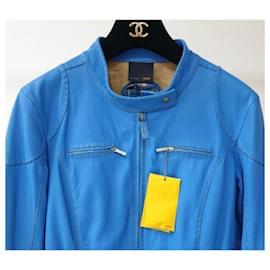 Fendi-NWT Fendi Blue Leather Jacket-Blue