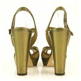 Sonia Rykiel-Authentic Sonia Rykiel Bronze Gold Peep Toe Heel Sandals with Mesh Panels - Sz37.5-Gold hardware
