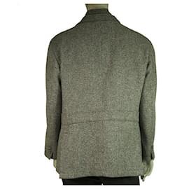 Corneliani-Corneliani Collection CC Gray Wool Cashmere Button Front Men's Blazer Jacket 58-Grey