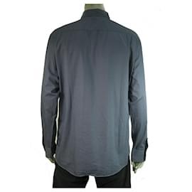 Ermenegildo Zegna-Ermenegildo Zegna Blue Grid Check Jacquard Shirt Long Sleeve Cotton Mens XXL-Blue