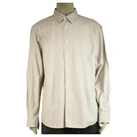 Ermenegildo Zegna-Ermenegildo Zegna Brown Grid Check Jacquard Shirt Long Sleeve Cotton Mens XXL-Light brown