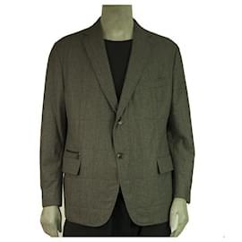 Ermenegildo Zegna-Ermenegildo Zegna Gray Wool Silk Cashmere Button Front Men's Jacket size 7- 58 C-Dark grey
