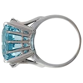 inconnue-Aquamarine ring, white gold and diamonds.-Other