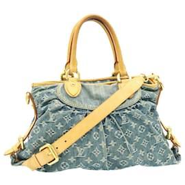 Louis Vuitton-LOUIS VUITTON Monogram Denim Neo Cabby MM 2Way Hand Bag Blue M95349 auth 23989-Blue