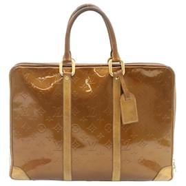 Louis Vuitton-LOUIS VUITTON Vernis Porte Documan Voyage Hand Bag Bronze M53362 LV Auth 24008-Bronze