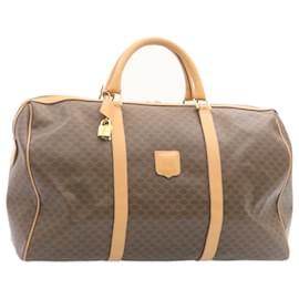 Céline-CELINE Macadam Canvas Boston Bag PVC Leather Brown Auth 24047-Brown