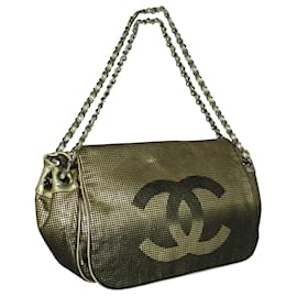 "Chanel-Golden Metallic Ombre Hollywood Bag with ""CC""-Golden,Metallic"