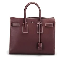 Yves Saint Laurent-YSL Sac de Jour Leather Tote Bag  in maroon calf leather leather-Brown,Red