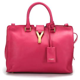 Yves Saint Laurent-YSL Cabas Chyc Leather Shoulder Bag  in pink calf leather leather-Pink
