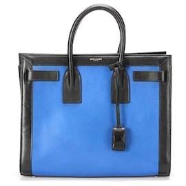 Yves Saint Laurent-YSL Leather Sac De Jour  in blue calf leather leather-Blue