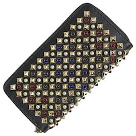 Christian Louboutin-[Used] CHRISTIAN LOUBOUTIN Paneltone Spike Studs Round Zipper Wallet Coin Purse-Black