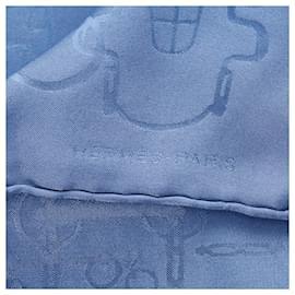 Hermès-Hermes Blue Printed Silk Scarf-Blue