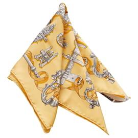Hermès-Hermes Yellow Ferronnerie Printed Silk Scarf-Multiple colors,Yellow