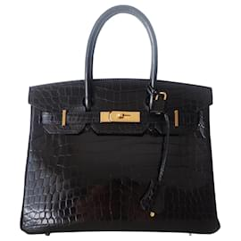 Hermès-Sac Hermes Birkin 30 crocodile-Noir