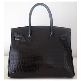 Hermès-HERMES BIRKIN BAG 30 crocodile-Black