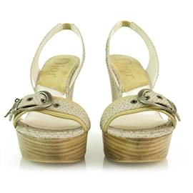 Christian Dior-Christian Dior Off White Snake Leather Wooden Wedge Sandal Shoes Slingback 37.5-White