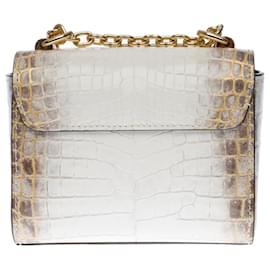 Louis Vuitton-Exceptional and precious Louis Vuitton Twist Mini bag in white Niloticus crocodile leather!-White