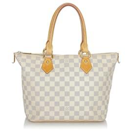 Louis Vuitton-Louis Vuitton White Damier Azur Saleya PM-White,Blue