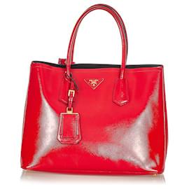 Prada-Prada Red Vernice Leather Satchel-Red