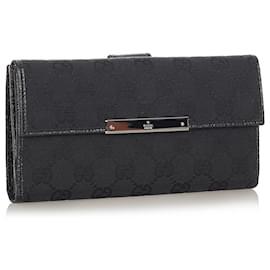 Gucci-Gucci Black GG Canvas Long Wallet-Black