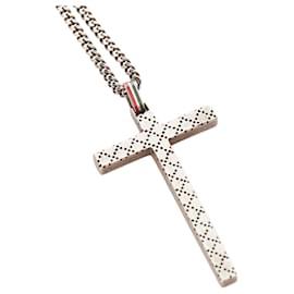 Gucci-Gucci Silver Diamante Cross Necklace-Silvery