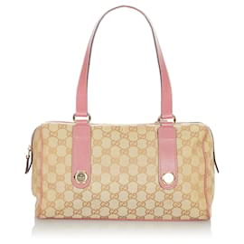 Gucci-Gucci Brown GG Canvas Charmy Shoulder Bag-Brown,Pink,Beige