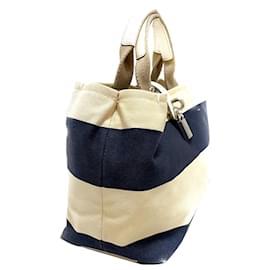 Dolce & Gabbana-Dolce&Gabbana Blue Canvas Handbag-White,Blue,Navy blue