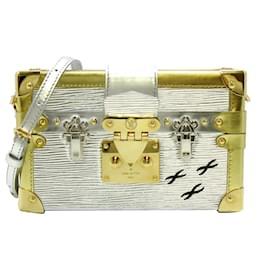 Louis Vuitton-Louis Vuitton Silver Epi Petite Malle-Silvery,Golden